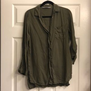 Zara olive flowy casual button down top